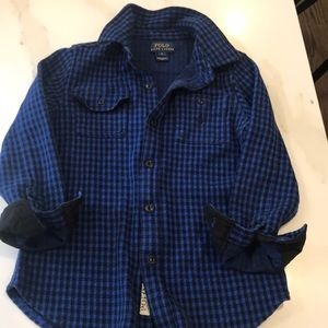 Cotton long sleeve black/ blue check button down